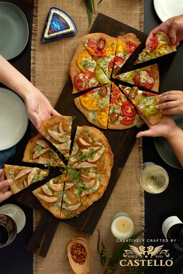 Customize grilled pizza with farmers market flavors and Castello Traditional Danish Blue cheese for a rustic, gourmet dinner with friends.