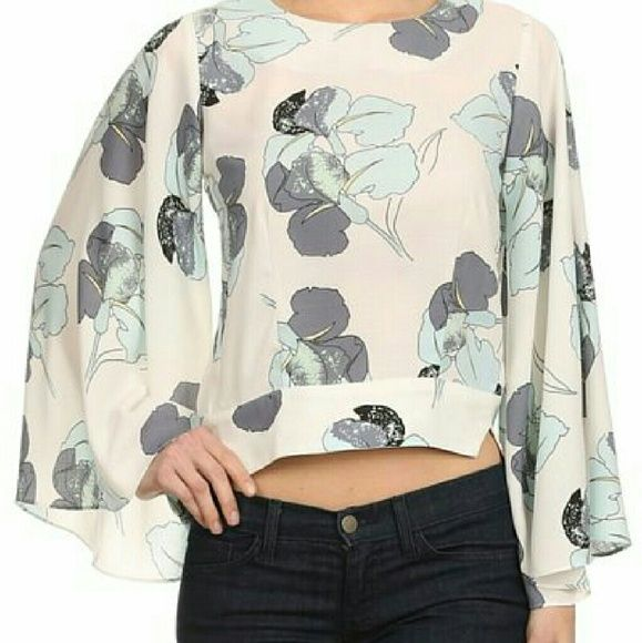 Zinc Watercolor Flutter Sleeve Blouse 68