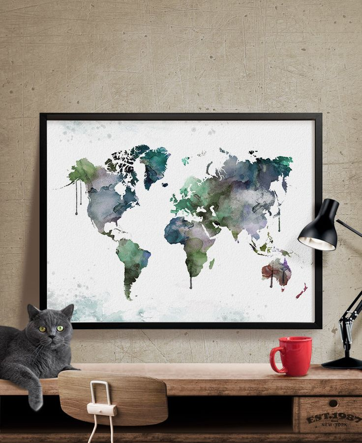 Best 25 large world map poster ideas on pinterest world map large world map poster watercolor world map world map print wall art sciox Choice Image