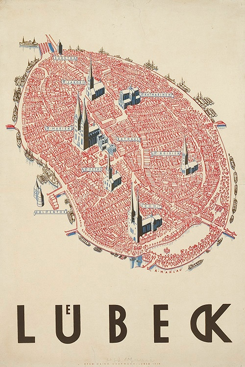 Poster of Lübeck by Alfred Mahlau. The city-state of Lübeck was a member of Hanseatic League, a voluntary association that provided military and diplomatic services as well as international law enforcement to its members.