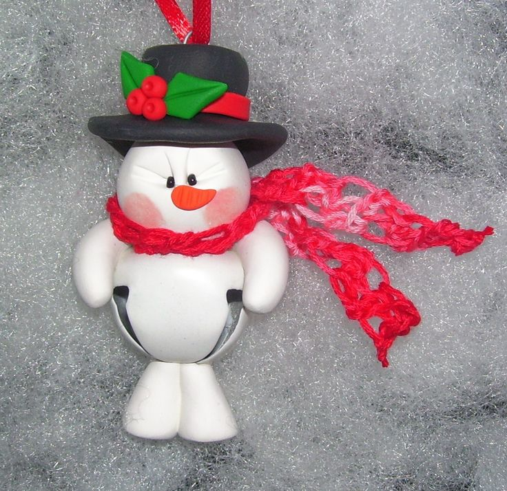 Polymer Clay Snowman | Snowman Jingle Bell Buddy Polymer Clay Christmas Ornament - Free ...