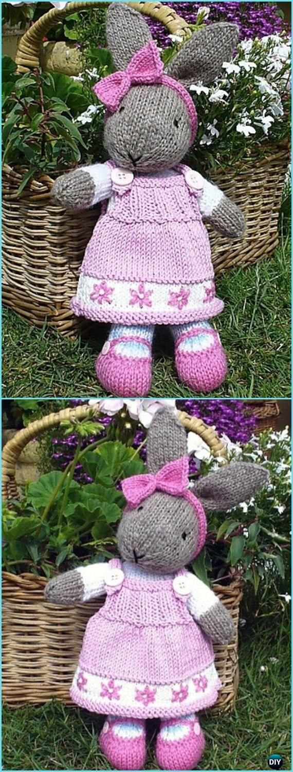 Amigurumi Bunty Bunny Rabbit with Removeable Dress Paid Knitting Pattern - Amigurumi Knit Bunny Toy Softies Patterns
