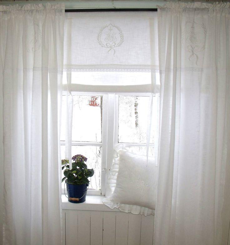 Fancy Details zu LillaBelle AMALIE WEISS Vorhang Gardine x St ck Monogramm Landhaus Shabb