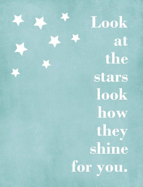 Stars,Graphic Art Print, Wall Art, Nursery Art, Child's Room, Typography, Custom, Song quote, Frame Ready.