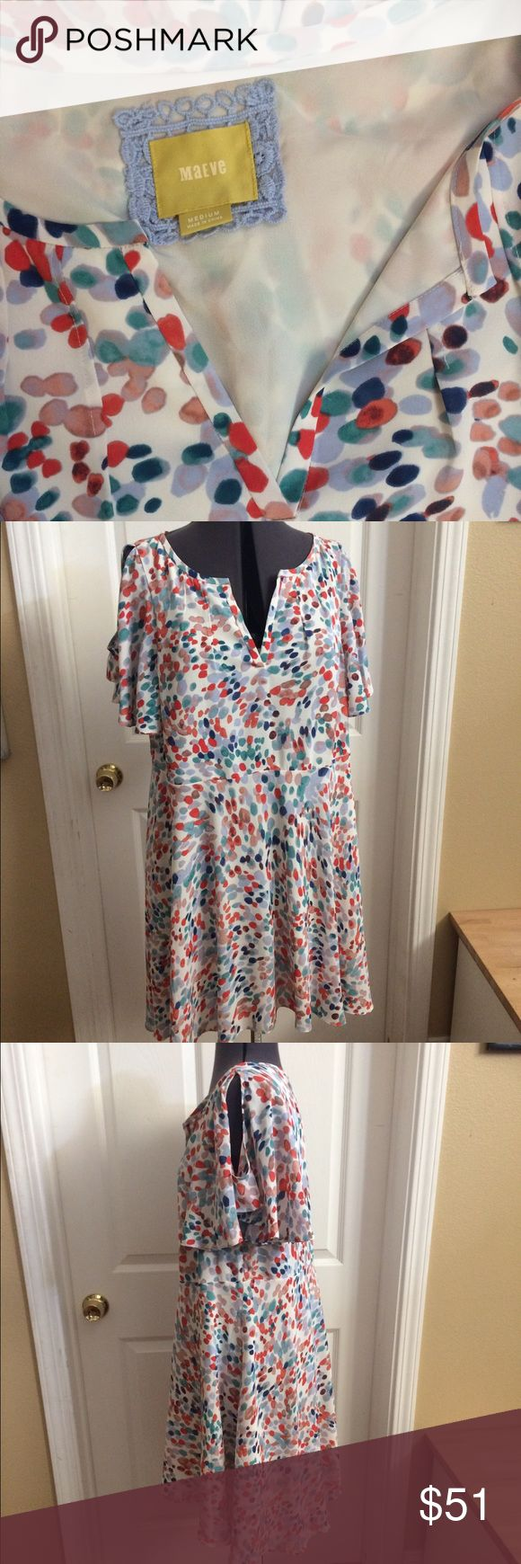 Maeve size Medium multi color party dress! What an adorable dress! White with multi color dots and an Anthropology brand! Perfect for a weekend trip or brunch with your friends! Reads size medium but has space for a Large (depending on your measurements.) maeve Dresses Midi