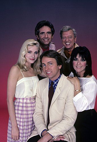 John Ritter, Priscilla Barnes, Joyce DeWitt, Richard Kline, and Don Knotts in Three's Company (1976)