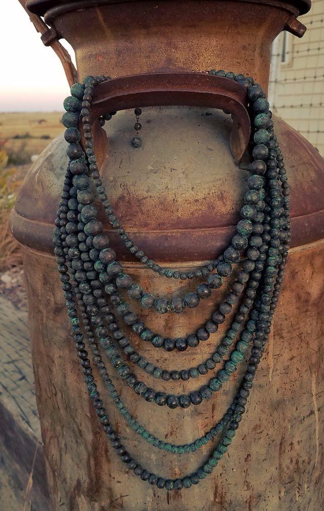Cowgirl Bling 7 strand NECKLACE TURQUOISE PATINA Gypsy Boho Beads Southwest #other
