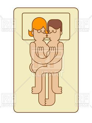Guy and girl in bed. Sex icon. Lovers kiss and hug., 180823, download royalty-free vector clipart (EPS)