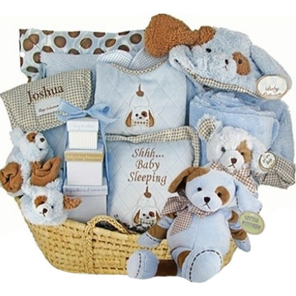 198 best cute baby boy items gifts images on pinterest baby personalized puppy paws moses gift basket deluxe baby gift negle Choice Image