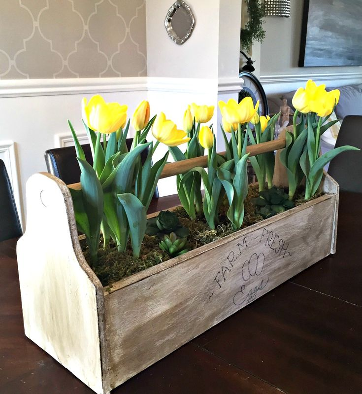 Rustic Box with Yellow Tulips
