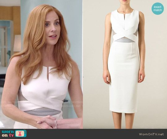 Donna's white cutout dress with cross front on Suits.  Outfit Details: http://wornontv.net/50952/ #Suits