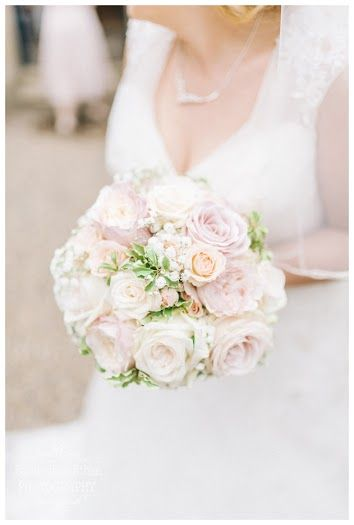 Blush bridal bouquet for an eshott hall bride. with keira garden roses by david austin, sweet avalanche roses. image by sarah-jane ethan photography flowers by fleur couture as seen on style me pretty