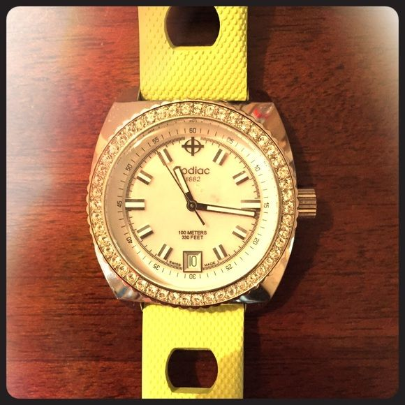 Women's lime green rubber Zodiac watch. I love this watch! The rubber smells like vanilla. Bling around the face. Light lime color. Just needs a new battery. Zodiac watches Accessories Watches