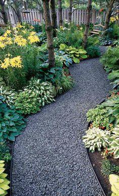 Attractive gravel garden path • photo via Erin on The Impatient Gardner