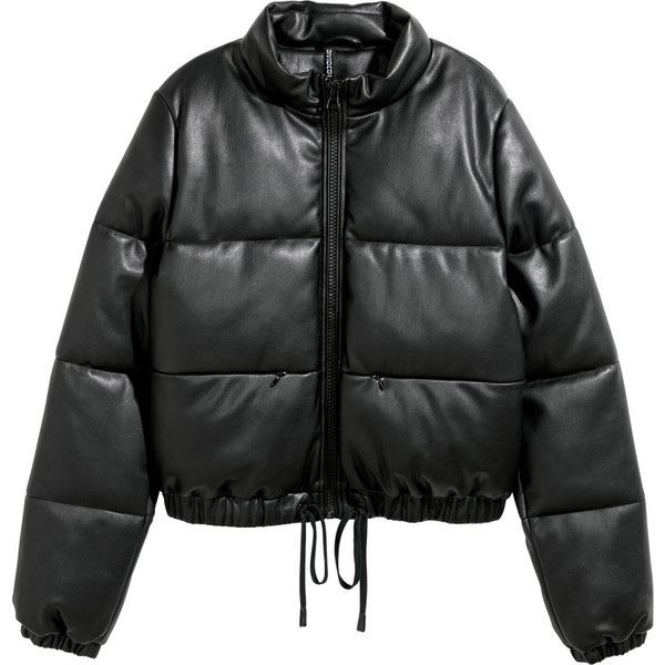 Padded Jacket $69.99 ($60) ❤ liked on Polyvore featuring outerwear, jackets, stand up collar jacket, zip jacket, vegan jackets, vegan leather jacket and standing collar jacket