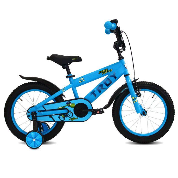 """Troy Kinderfiets Speed Turtle blauw 16"""" Blauw  Description: De Troy Speed Turtle 16 inch blauw is een stoere fiets voor jongens in de leeftijdsklasse van 4 tot 6 jaar. De Troy Speed Turtle heeft een stalen oversized frame en zorgt dat de fiets stevig is en tegen een stootje kan. De terugtraprem in het achterwiel zorgen ervoor dat je kind veilig kan remmen en tot stilstand kan komen. De zijwieltjes zorgen voor ondersteuning en kan je kind zelfstandig fietsen dan haal je eenvoudig de…"""