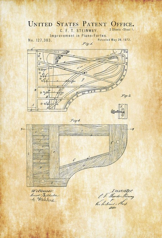 A patent print poster of a Steinway Piano Forte improvement invented by C. F. T. Steinway. The patent was issued by the United States Patent Office on may 28, 1872. C. F. Theodore Steinway, was a piano maker, and the eldest son of the famous piano maker and piano company founder, Henry E. Steinway. Theodore Steinway designed many of the legendary pianos for the company.  Patent prints allow you to have a piece of history in your Home, Office, Man Cave, Geek Den or anywhere you wish to add an…