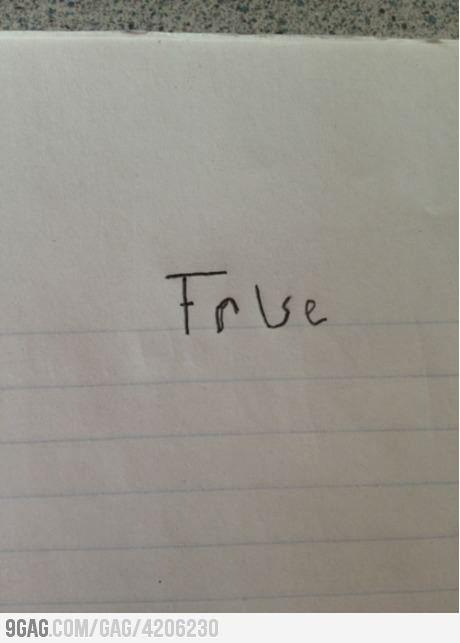 How I answer every True or False quiz.: Fal Questions, True False Questions, True False Test, Answers True False, Smart Kids, True False Quizs, Teacher, Fal Quizs, High Schools