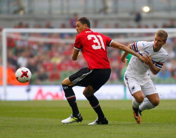 August 2nd 2017 Aviva Stadium Dublin Ireland Pre Season Football Friendly Manchester United versus Sampdoria Dennis Praet tries to get past newly...
