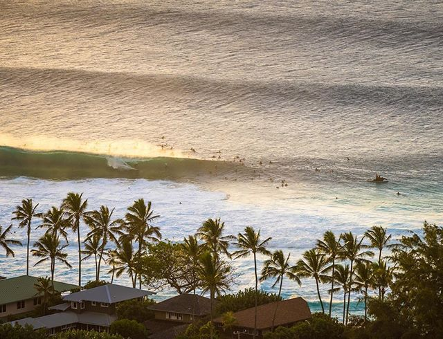 Photo by @michaelclarkphoto // An overhead view of a surfer on the famous wave known as Pipeline on the north shore of Oahu, Hawaii. Big waves have rolled in on the north coast of Oahu this past week. Oahu sees a huge number of tourists and Pipeline and the north shore is a big part of that. Standing on the beach and watching some of the World's best surfer's ride this spectacular wave is an inspiring and incredible experience. #pipeline #oahu #hawaii #surfing