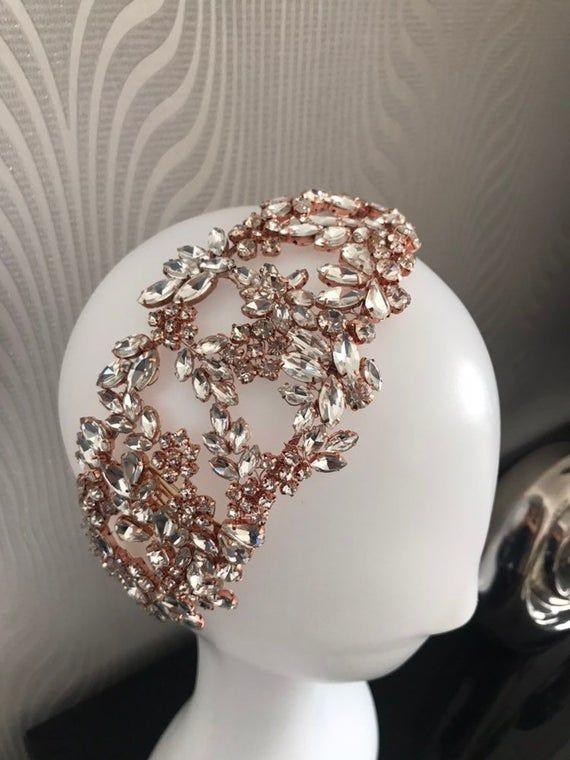 Rose Gold Rhinestone Bridal Headband,Bridal Accessories,Wedding Accessories,Rose Gold Hair Vine,Bridal Headpiece,#HV58
