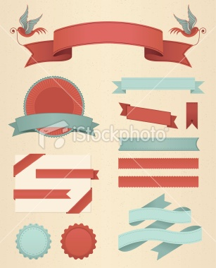 Vintage Banners & Ribbons Royalty Free Stock Vector Art Illustration
