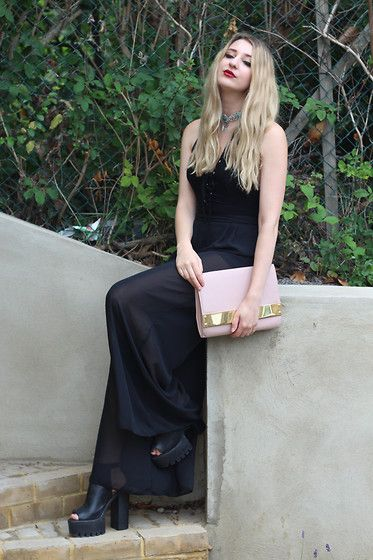 Get this look: http://lb.nu/look/7764146  More looks by Laura Rogan: http://lb.nu/laurarogan  Items in this look:  Boohoo Bodysuit, Missguided Bag, Primark Trousers, Pretty Little Thing Shoes   #chic #gothic