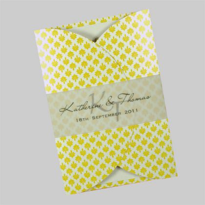 Rounded gatefold wedding invitations - shown here printed in yellow. They can also be printed in many other colours. www.kardella.com
