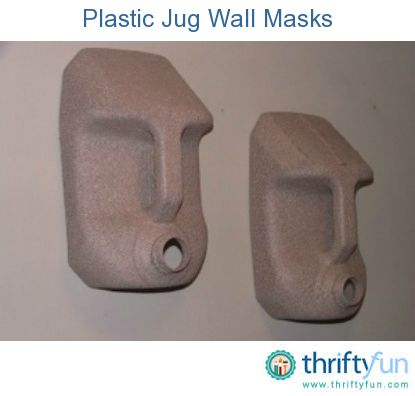 Wall masks made from plastic jugs. Cut tops off jugs as shown in photo. Make a hole at top center and make a string loop for hanging.