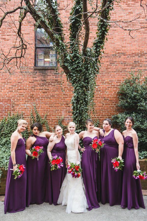Diffe Bridesmaids Dresses In Same Color Each Bridesmaid Wore A Dress The Deep Purple Bri Al X Pinterest Wedding