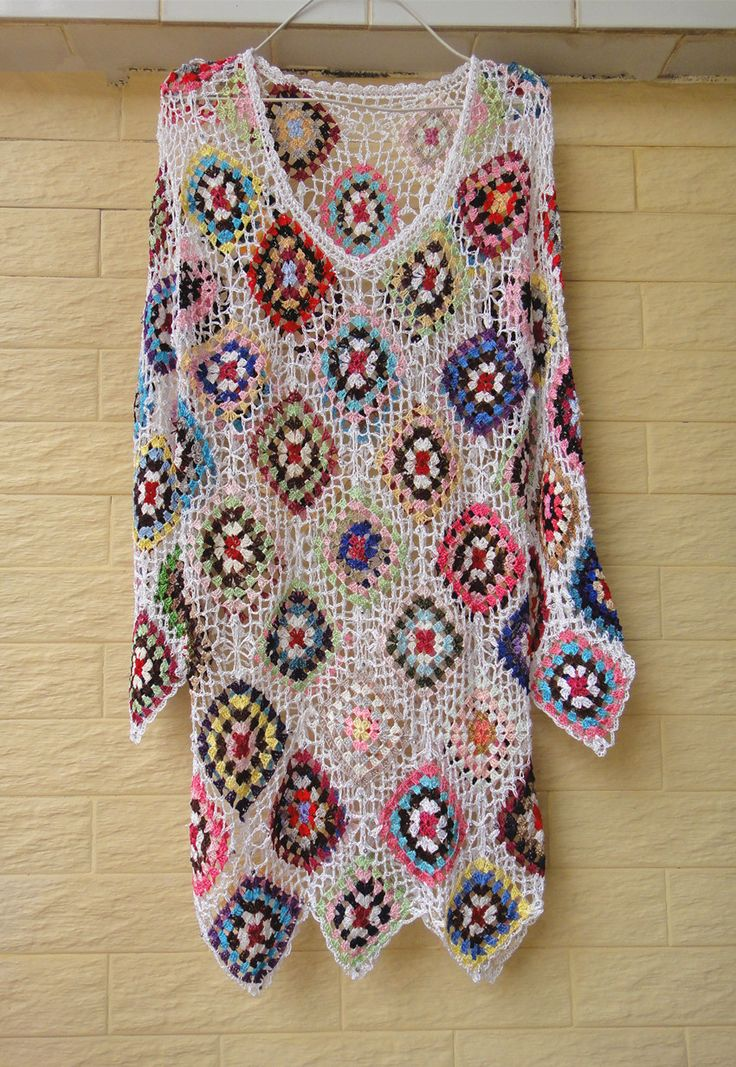 Handmade Crochet Granny Square Short Dress with Long Sleeves [CDS06] - $49.00 : Tina Crochet Studio, Handmade Crochet Boot Cuffs Socks Women Bohemian Accessory