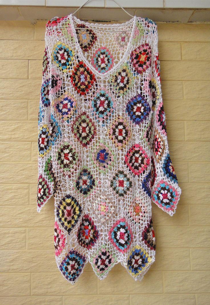 Handmade Crochet Granny Square Short Dress with Long Sleeves [CDS06] - $49.00 : Tina Crochet Studio, Handmade Crochet Boot Cuffs Socks Women Bohemian Accessory