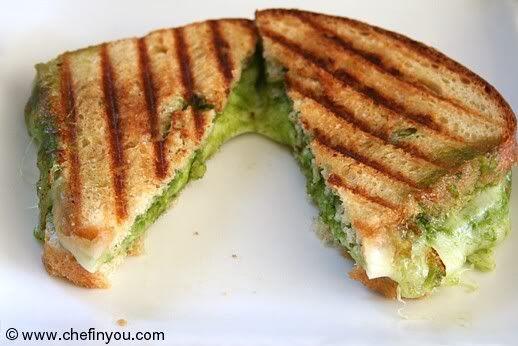 Spinach Pesto Grilled Sandwiches Recipe | Spinach Pesto Recipe