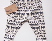 Hand Screen Printed Unisex Baby Footless Legging in Organic Cotton - Navy Animals on Cream