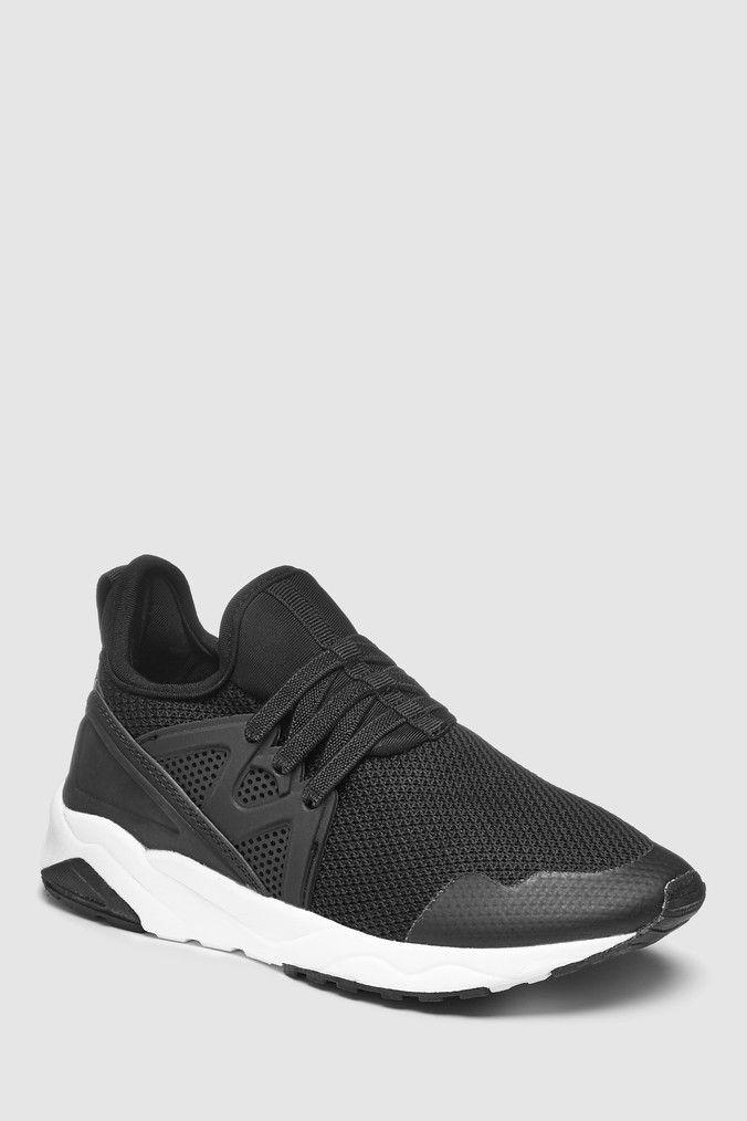 Black Elastic Lace Trainers (Older