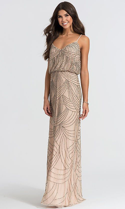 a709315a Image of Adrianna Papell beaded taupe long bridesmaid dress. Style: AP-091891180-TP  Front Image