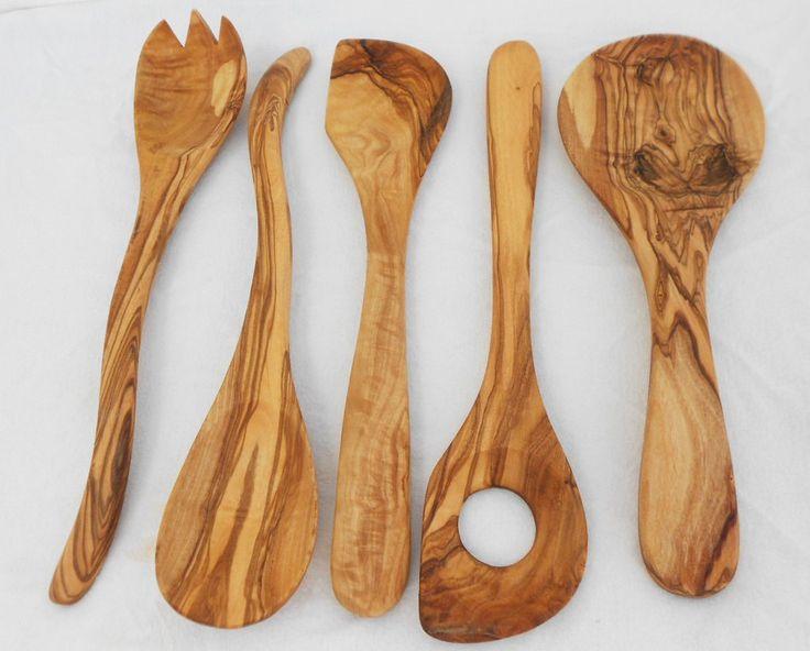 Engraved Wooden Kitchen Utensil Set, Olive Wood Cooking Utensils Set, Mom Gift, Wedding gift