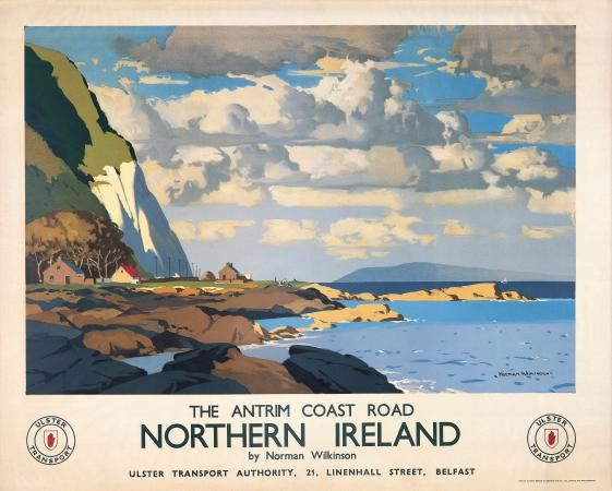 I love this style Northern Irish Art Travel Poster, Antrim Coast Road, Northern Ireland by Norman Wilkinson