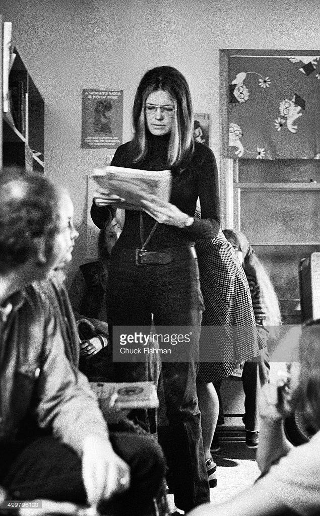 American women's rights activist and author Gloria Steinem prepares for a speech at Northern Illinois University, DeKalb, Illinois, 1972.