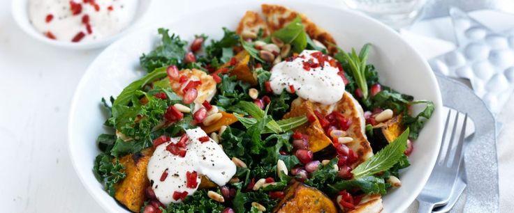 Kale & roasted pumpkin salad with garlic & lemon yoghourt dressing – Recipe courtesy of Jalna