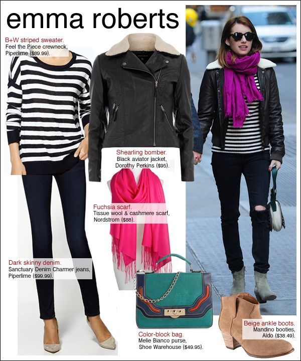emma roberts style, emma roberts nyc, Love the pop of color in the scarf