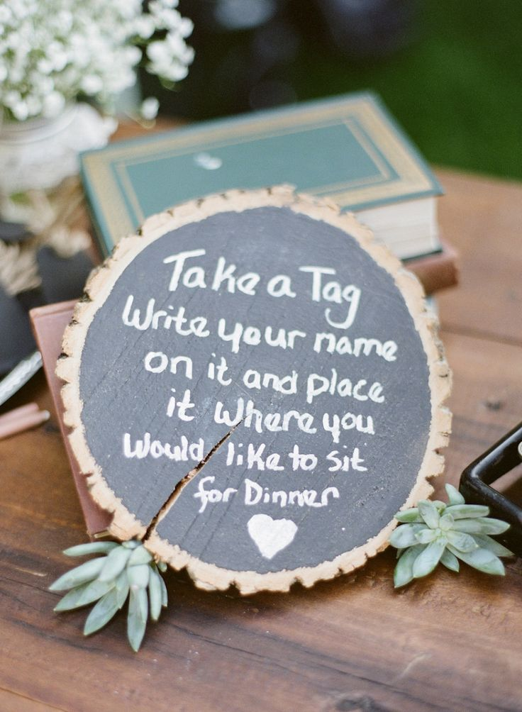 Wedding Idea - No Seating Plan, but still have PlaceCards. More on Style Me Pretty: http://www.StyleMePretty.com/2014/02/12/diy-greenwood-hills-country-club-wedding/ The McCartneys Photography