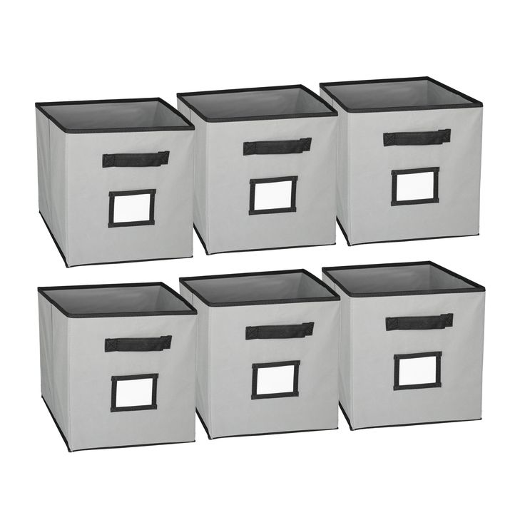 labels on the front of collapsible storage bins give more functionality and offer more clear organization.