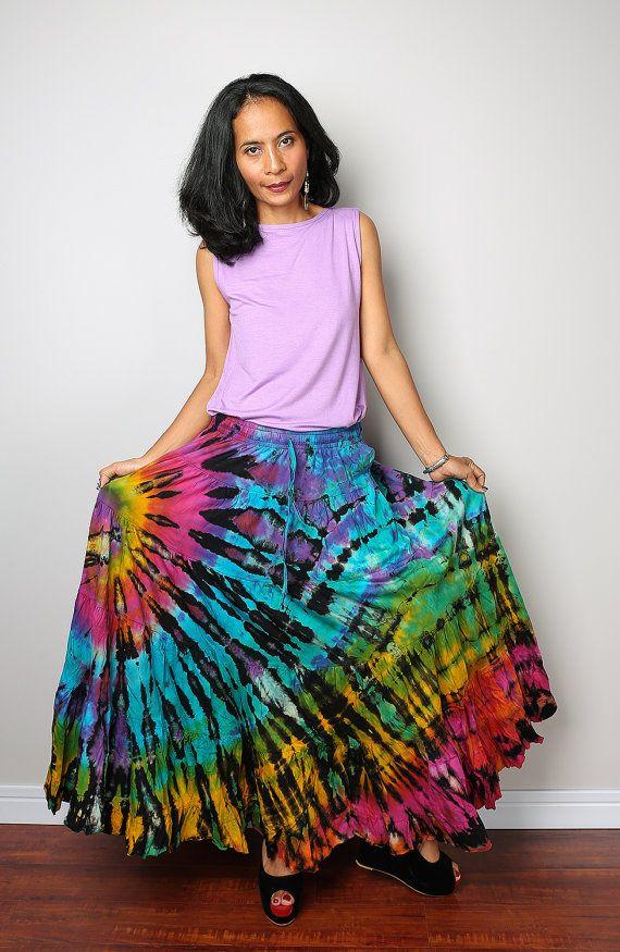 rainbow maxi skirt hippie tie dye skirt funky