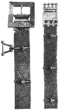 2 belts: Belt with struts 1250-1325, buckle and end facings c. 1450