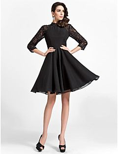 A-line High-neck Knee-length Chiffon And Lace Cocktail Dress – USD $ 79.99  Not black, maybe champagne, gold, grape?