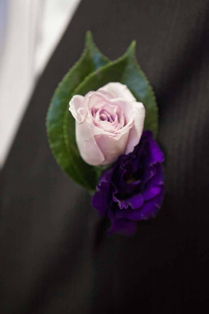 Mens buttonhole featuring a lilac rose and purple lisianthus