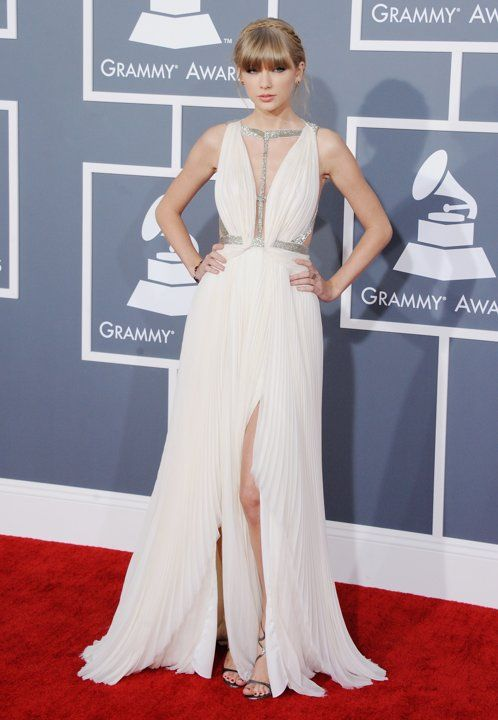 Taylor Swift went for a J. Mendel plunging neckline gown at the Grammys.