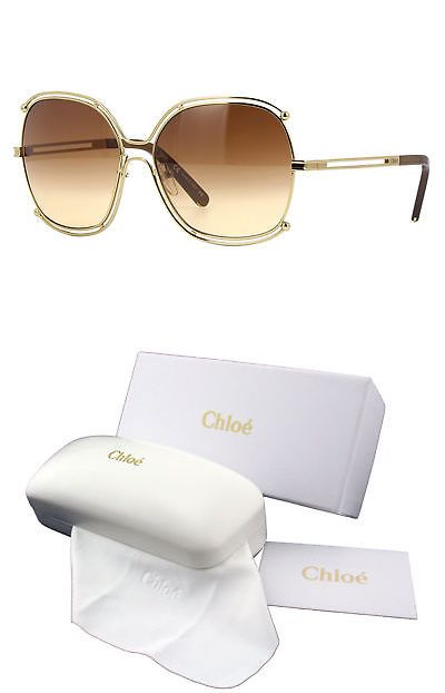 46a6ff64217 Eyewear Accessories 179249  New Chloe Ce129s 784 Gold Transparent Brown  Brown Gradient Sunglasses -