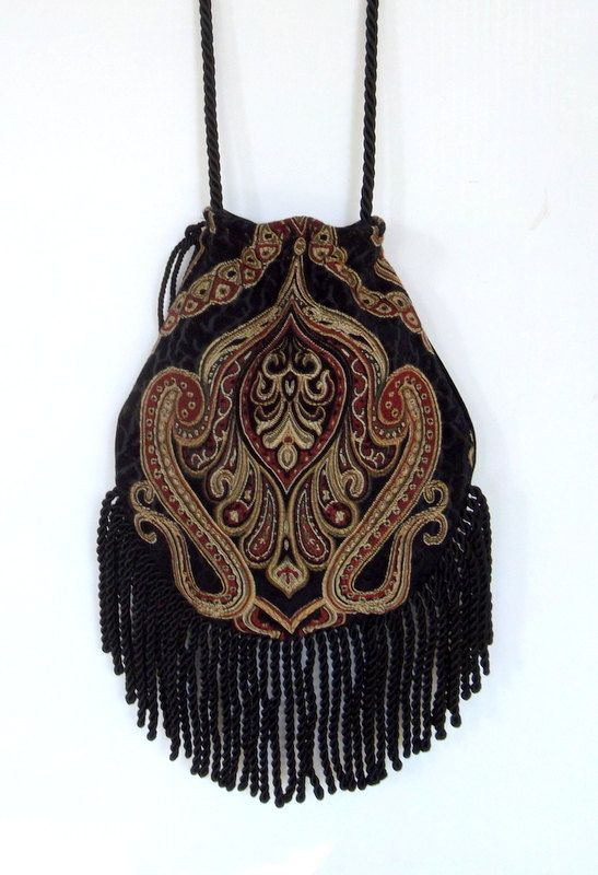 Fringed Tapestry Gypsy Bag Black Cross Body Bag Bohemian  Indie bag renaissance bag on Etsy, $48.00
